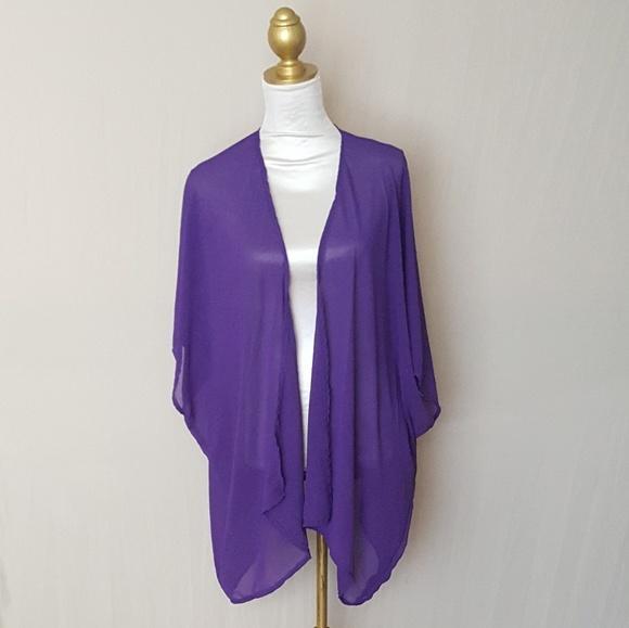 The Kimono Store - Sheer Purple Kimono Cardigan Cover up, Kimonos ...